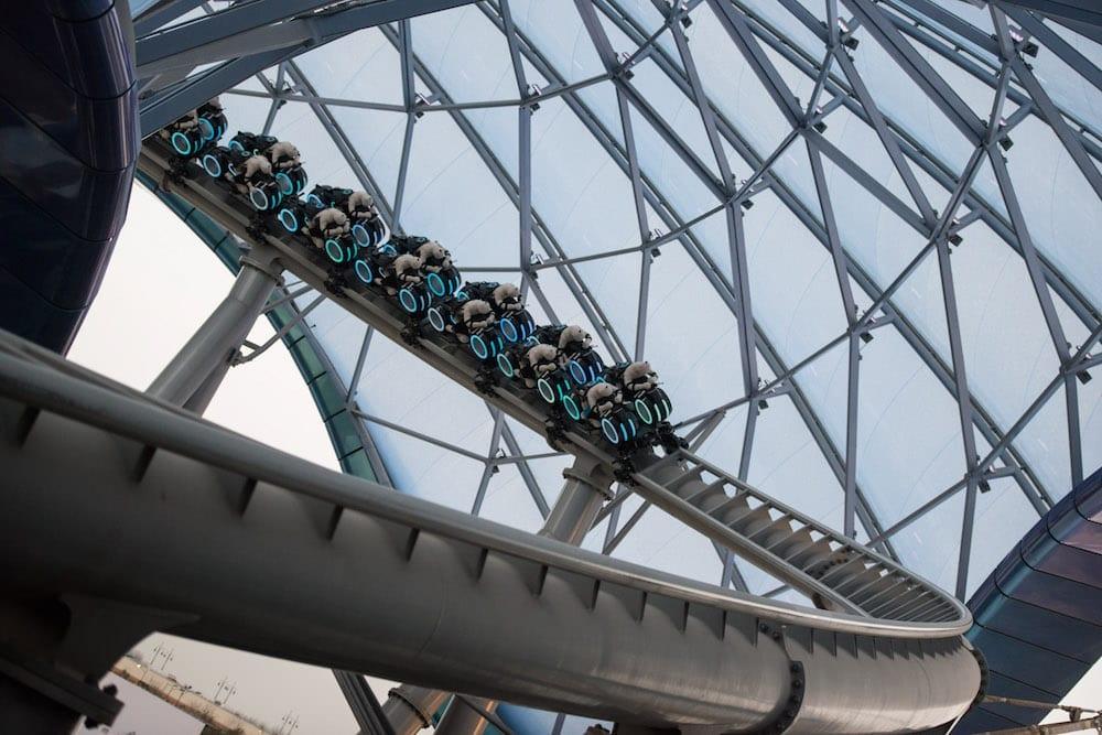 TRON Coaster Track installation Magic Kingdom Shanghai Disneyland