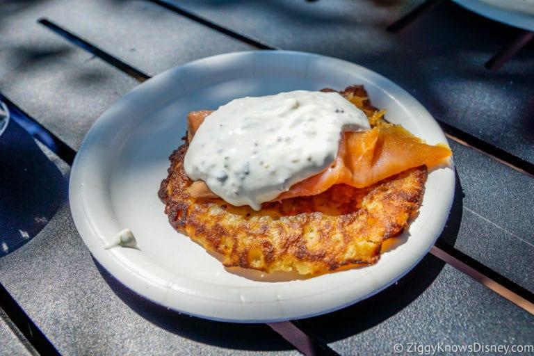 Scotland Review 2017 Epcot Food and Wine Festival Fresh Potato Pancake with Scottish Smoked Salmon