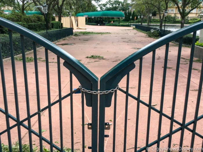 Hurricane Irma in Walt Disney World Epcot International Gateway gate locked