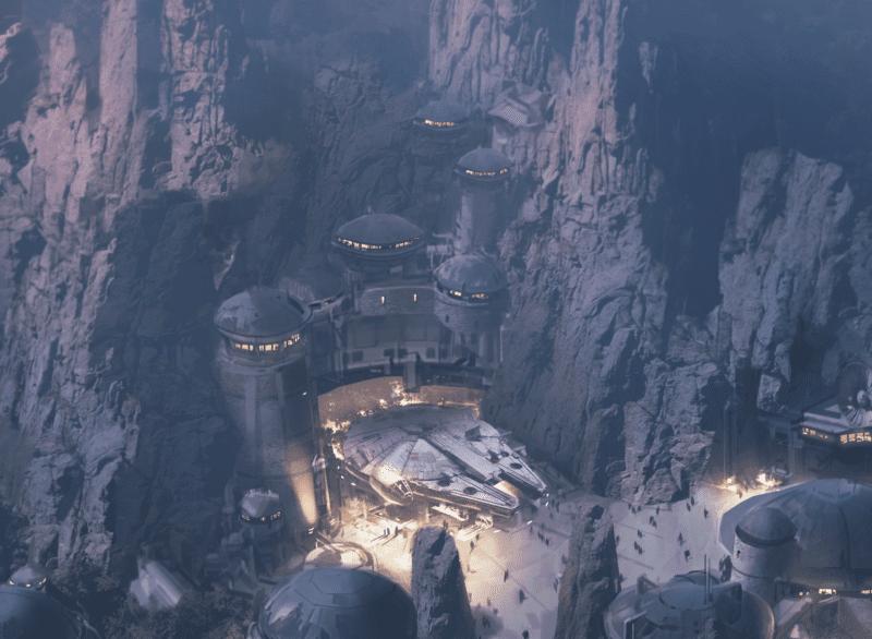 Millennium Falcon outside in Star Wars Galaxy's Edge