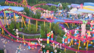 new toy story land aerial drone footage