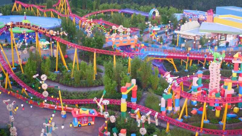VIDEO: New Toy Story Land Aerial Drone Footage Shows a Completed Land