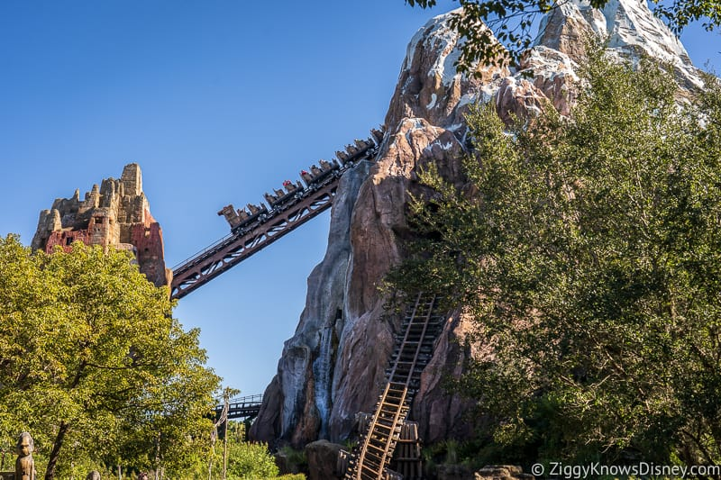 roller coaster train going up the hill Expedition Everest