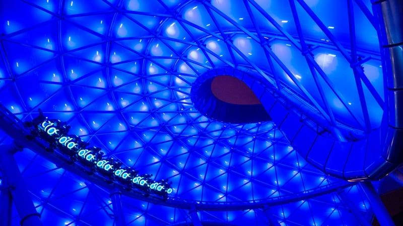 TRON Coaster Track installation Magic Kingdom dome