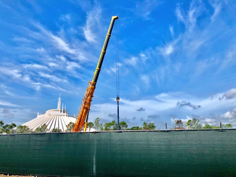 Construction Cranes Up at Tron Roller Coaster Site in Magic Kingdom