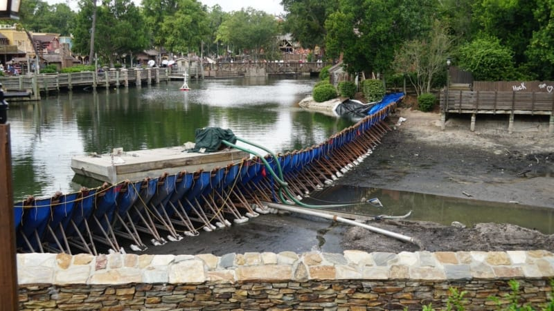 PHOTOS: Rivers of America Drained and Refurbishment Underway for Liberty Square Riverboat Track Replacement
