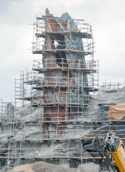 Themed Roofs and Painted Spires Star Wars Galaxy's Edge spire under construction