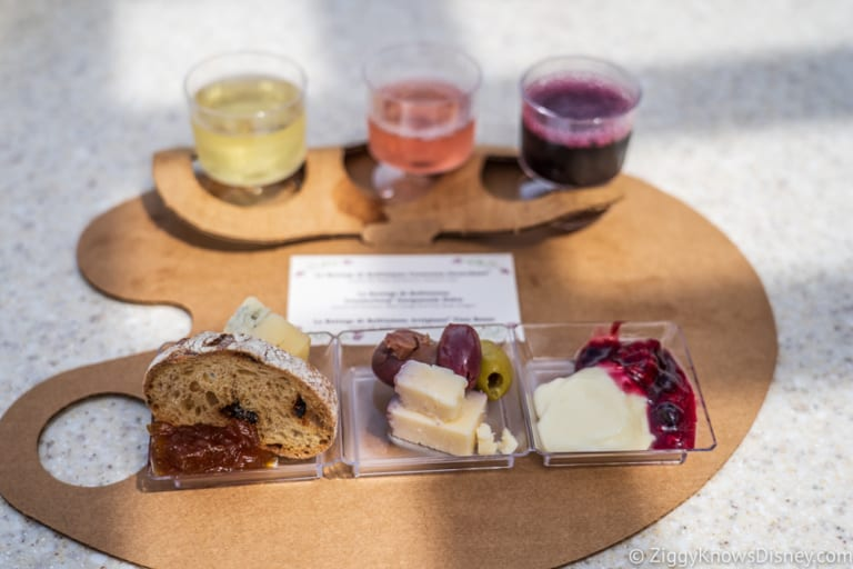Wine and Dine Studio Review 2018 Epcot Food and Wine Festival cheese trio plate