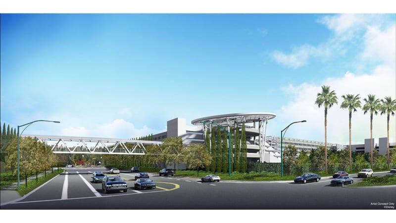 Pedestrian Bridge Added to New Parking Structure in Disneyland