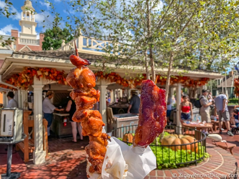 review candied bacon chicken skewers liberty square market Disneys magic kingdom