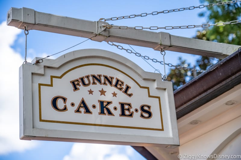 REVIEW Maple Bacon Funnel Cake Epcot sign