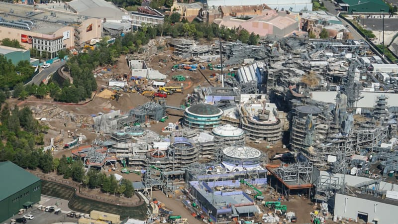 Star Wars Galaxy's Edge Construction Update October 2018 aerial