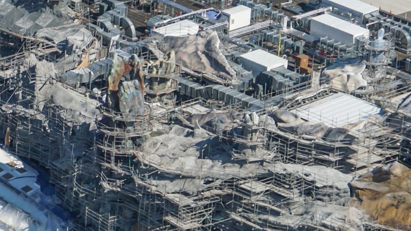 Star Wars Galaxy's Edge Construction Update October 2018 battle escape rock work