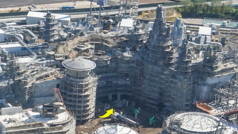 Star Wars Galaxy's Edge Construction Update October 2018 millennium falcon turret in progress