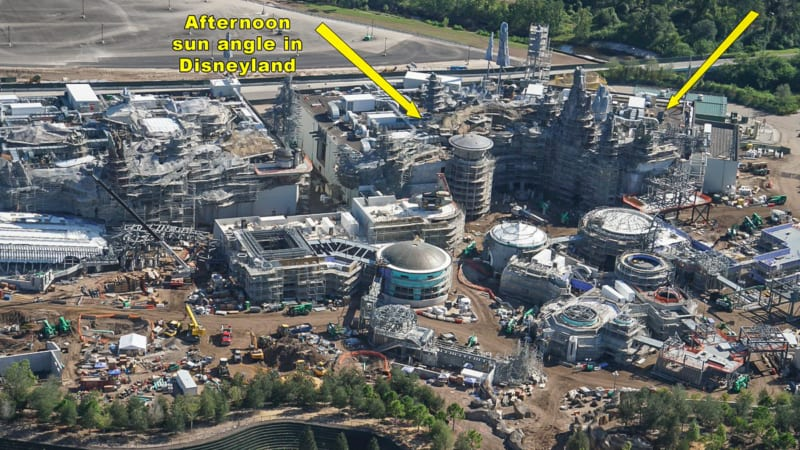 Star Wars Galaxy's Edge Construction Update October 2018 millennium falcon sun angle