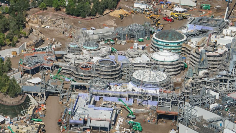 Star Wars Galaxy's Edge Construction Update October 2018 black spire outpost back