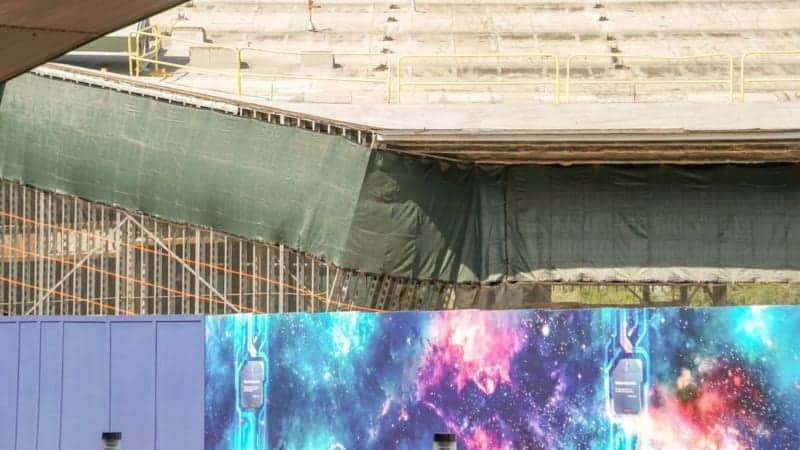 Guardians of the Galaxy Roller Coaster Walls Rising Up Construction Update November 2018