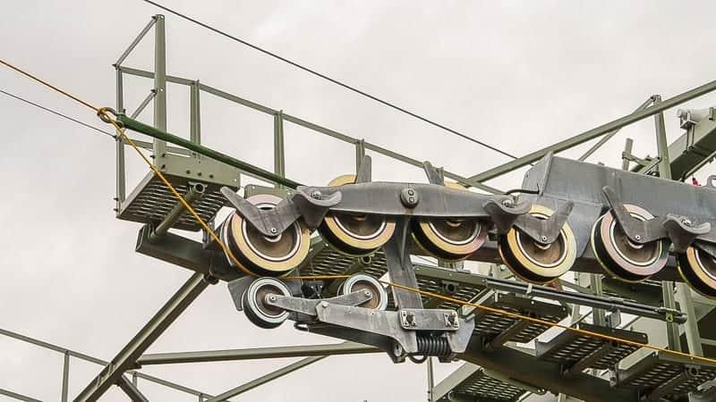 Disney Skyliner Gondola Construction Update December 2018 cable installation wheels
