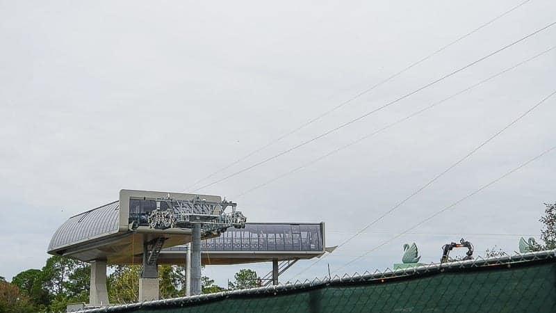 Disney Skyliner Gondola Construction Update December 2018 cable installation turn station ground
