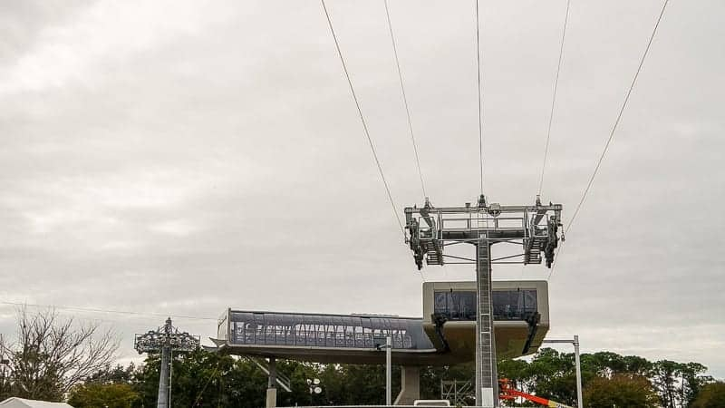 Disney Skyliner Gondola Construction Update December 2018 cable installation turn station