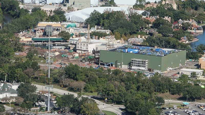Disney Skyliner Gondola Construction Update December 2018 Epcot Station Aerial shot