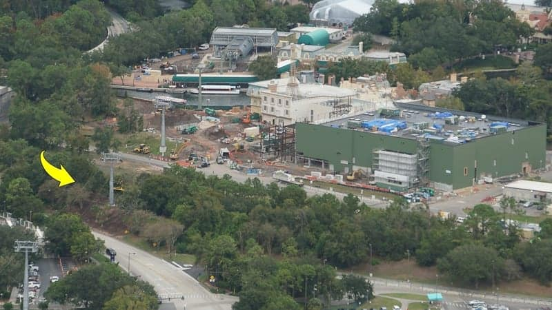 Remy's Ratatouille Adventure Construction Update December 2018 aerial shot