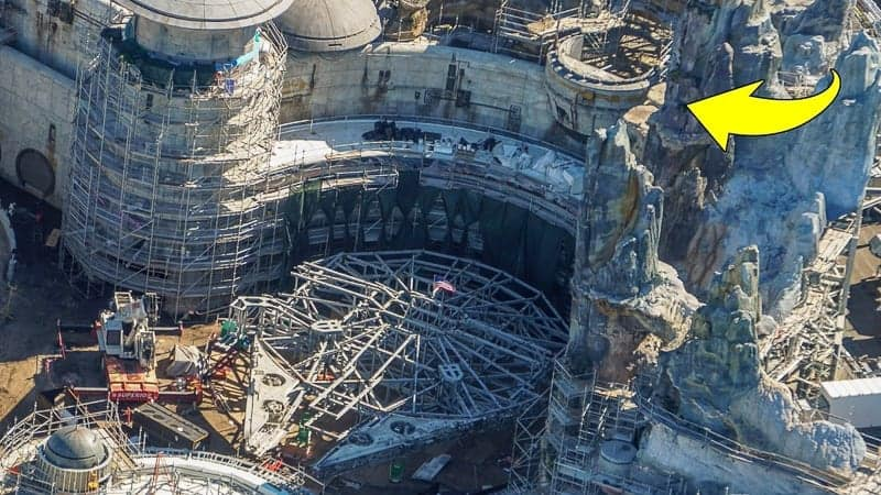 Star Wars Galaxy's Edge Construction Update December 2018 Millennium Falcon above