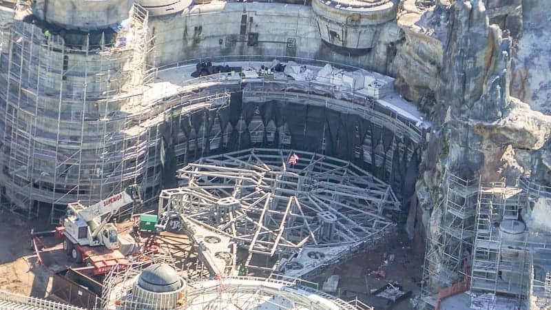 Star Wars Galaxy's Edge Construction Update December 2018 Millennium Falcon