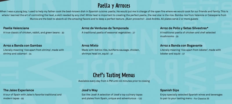 Jaleo Disney Springs Full Menu Food