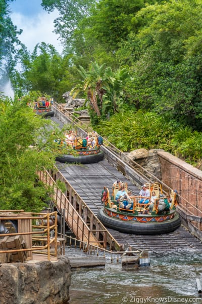 Rafts in the Kali River Rapids ride in Disney's Animal Kingdom