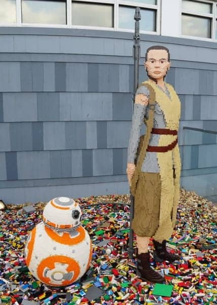 New Lego Statues Disney Springs BB-8 Rey