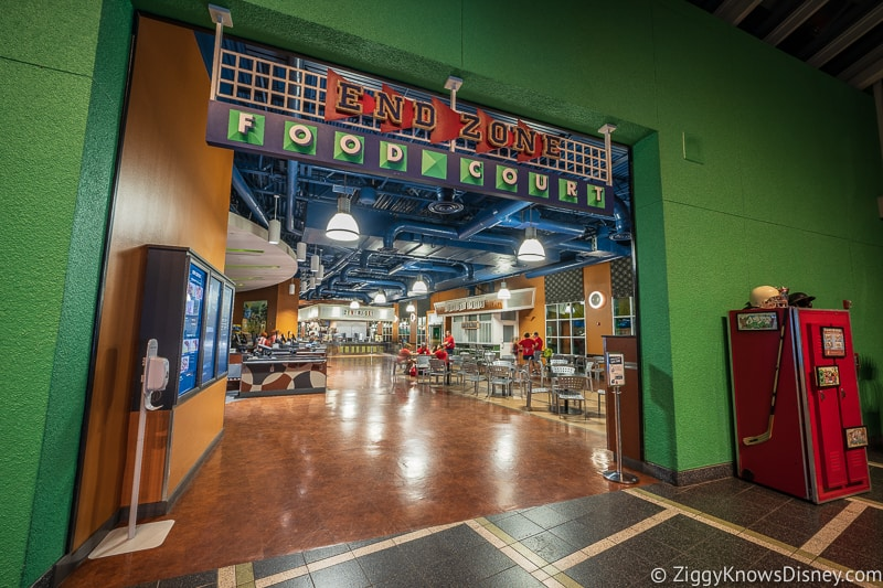 Entrance to All-Star Sports End Zone Food Court is a great place to watch the Super Bowl in Disney World