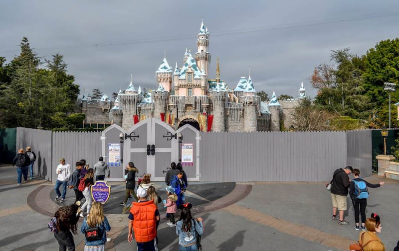 project stardust Disneyland sleeping beauty castle behind construction walls