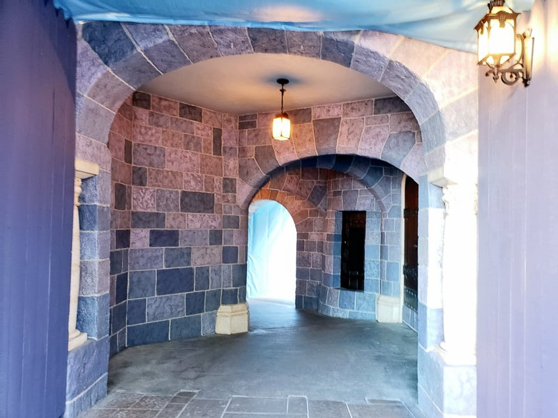 Sleeping Beauty Castle refurbishment updates Disneyland  stonework in passage