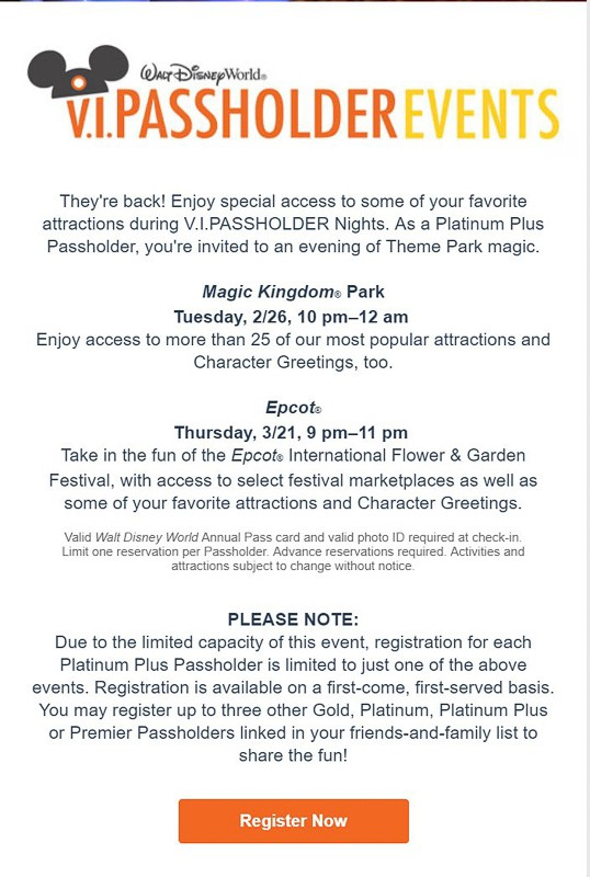 V.I.PASSHOLDER Nights Events Returning info