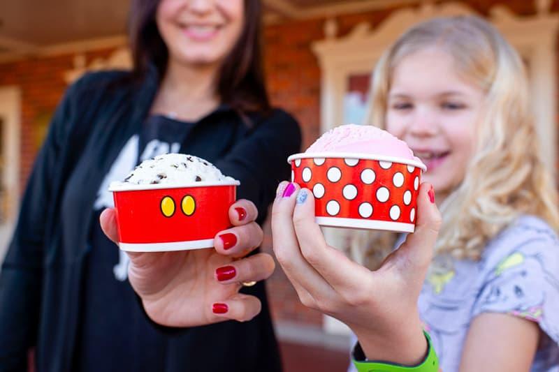 Magic Kingdom Character Themed Treats Mickey and Minnie Mouse Ice Cream