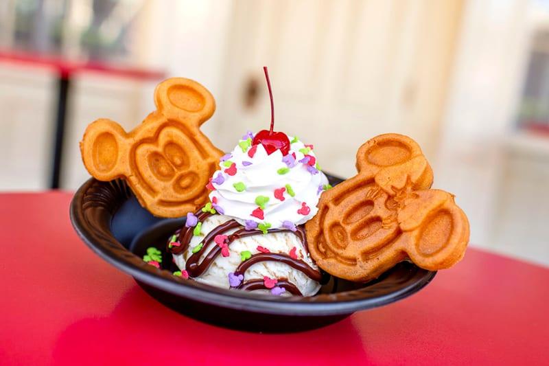 Magic Kingdom Character Themed Treats Mickey and Minnie Waffle Ice Cream Sundae