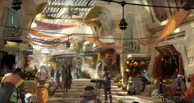 Star Wars Galaxy's Edge concept art Marketplace