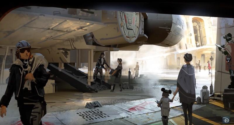 Star Wars Galaxy's Edge concept art Millennium Falcon