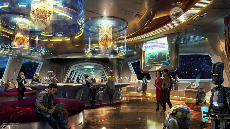 Star Wars Galaxy's Edge concept art Star Wars Hotel lobby