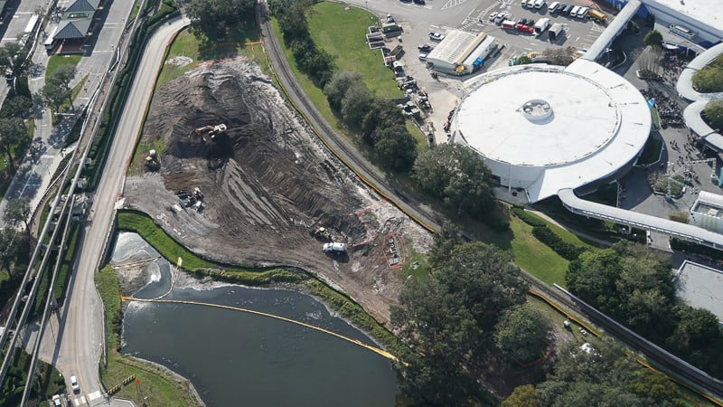 Tron Roller Coaster Construction Update February 2019 Magic Kingdom pond extension