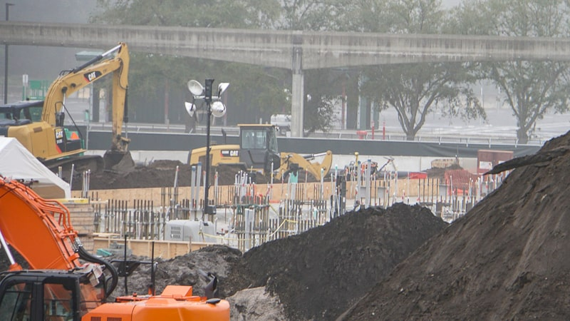 Tron Roller Coaster Construction Update February 2019 Magic Kingdom foundation pipes
