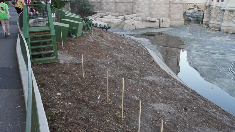 pathway behind Cinderella Castle construction update march 2019 stakes in the ground