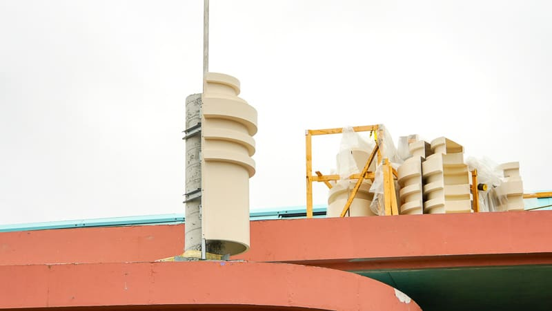 Disney Skyliner Gondola construction update March 2019 detailing on top of Hollywood Studios station