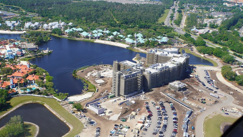 Disney Skyliner Gondola construction update March 2019 Aerial of Riviera Resort