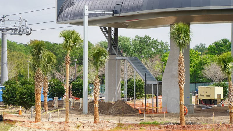 Disney Skyliner Gondola construction update March 2019 close up of stairs on turn station