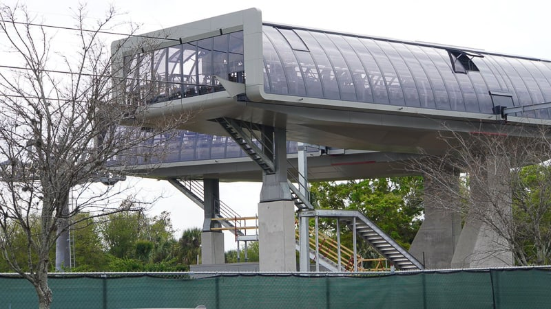 Disney Skyliner Gondola construction update March 2019 metal stairs on turn station