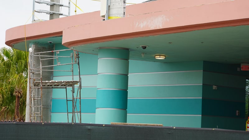 Disney Skyliner Gondola construction update March 2019 teal paint on Hollywood Studios station