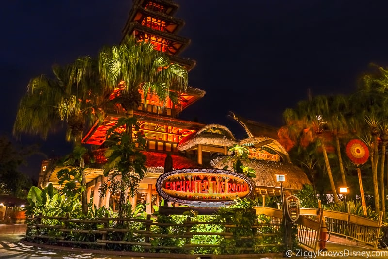 Enchanted Tiki Room at Night Magic Kingdom