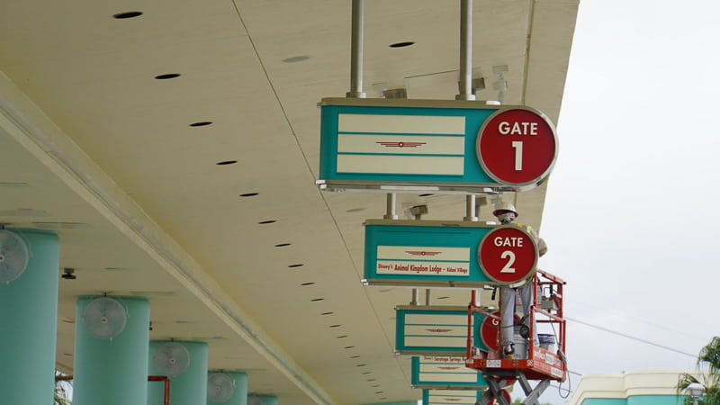 Hollywood Studios Parking Lot construction update March 2019 bus station signs